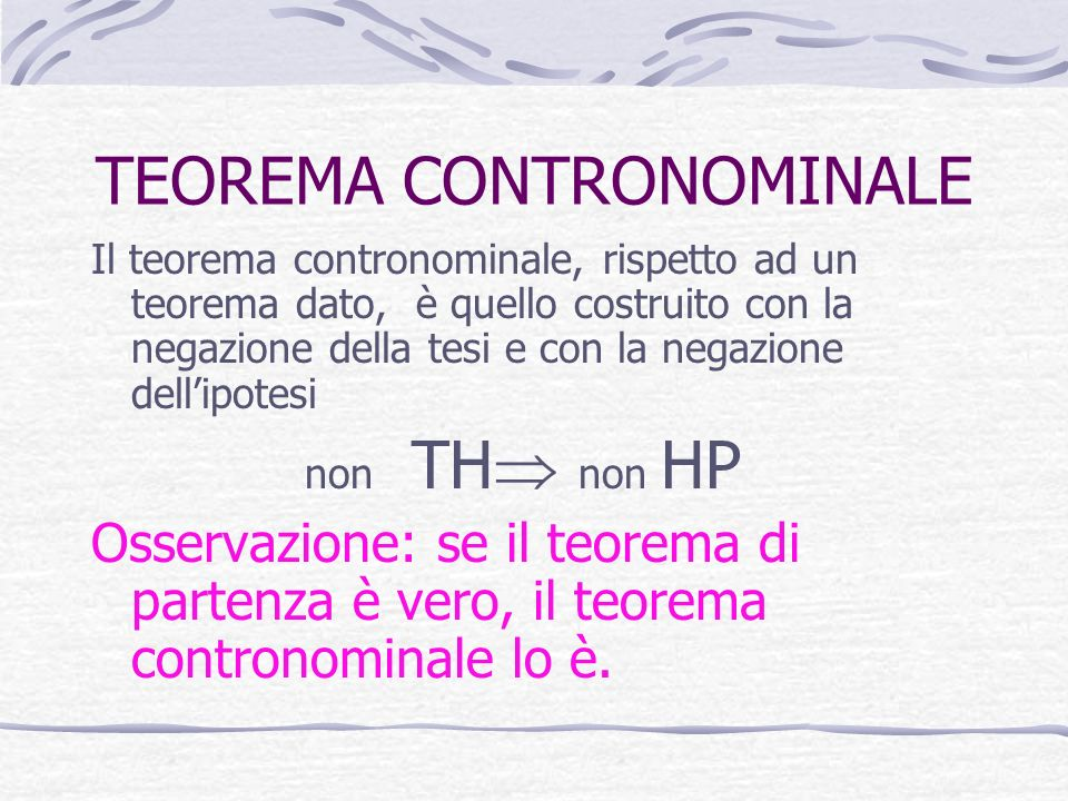 TEOREMA CONTRONOMINALE
