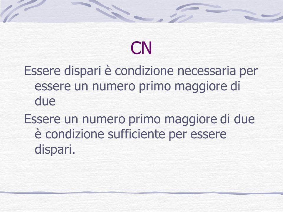 CN Essere dispari è condizione necessaria per essere un numero primo maggiore di due.