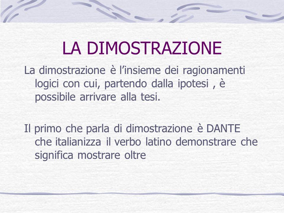LA DIMOSTRAZIONE La dimostrazione è l'insieme dei ragionamenti logici con cui, partendo dalla ipotesi , è possibile arrivare alla tesi.