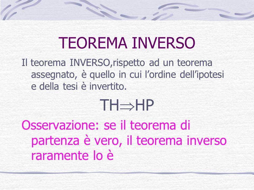 TEOREMA INVERSO Il teorema INVERSO,rispetto ad un teorema assegnato, è quello in cui l'ordine dell'ipotesi e della tesi è invertito.
