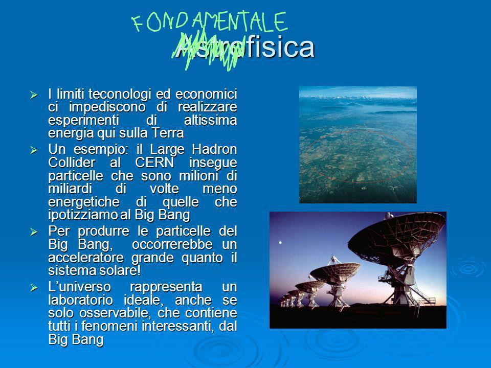 Astrofisica I limiti teconologi ed economici ci impediscono di realizzare esperimenti di altissima energia qui sulla Terra.