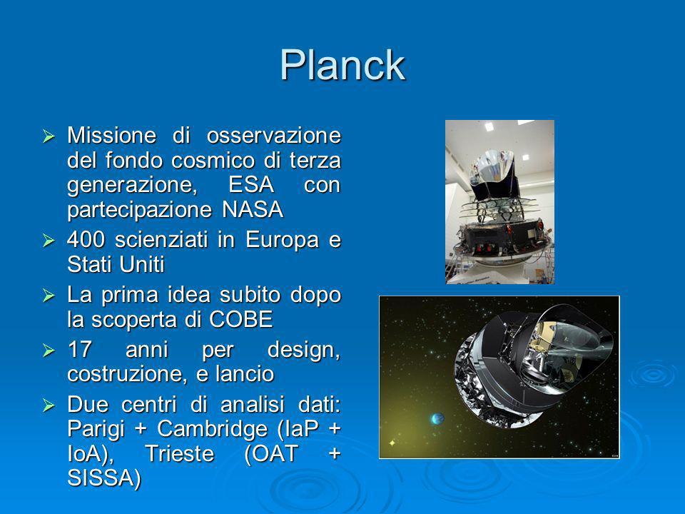 Planck Missione di osservazione del fondo cosmico di terza generazione, ESA con partecipazione NASA.