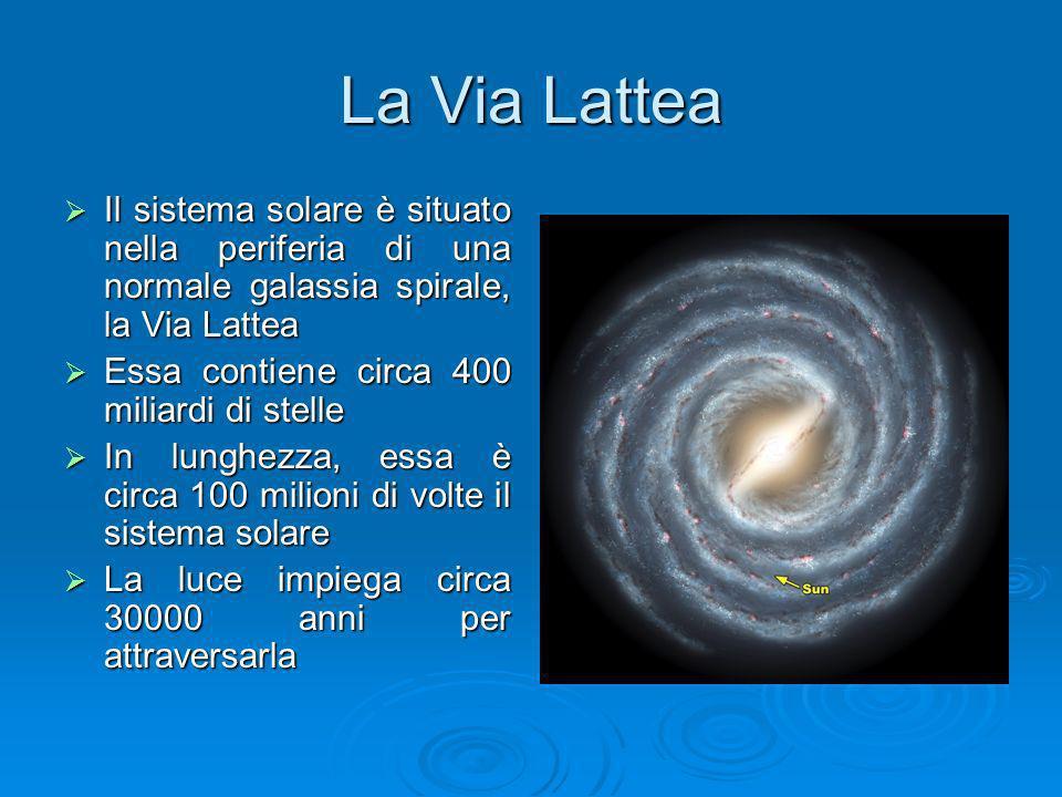 La Via Lattea Il sistema solare è situato nella periferia di una normale galassia spirale, la Via Lattea.