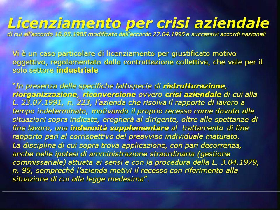 Licenziamento per crisi aziendale di cui all'accordo 16. 05