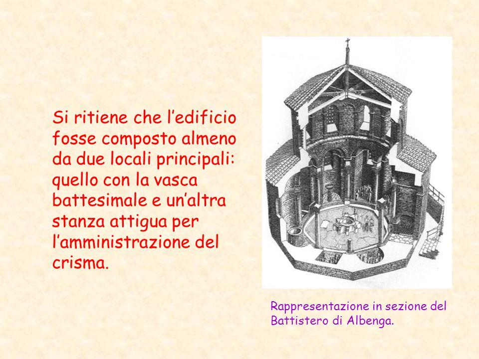 Si ritiene che l'edificio fosse composto almeno da due locali principali: quello con la vasca battesimale e un'altra stanza attigua per l'amministrazione del crisma.