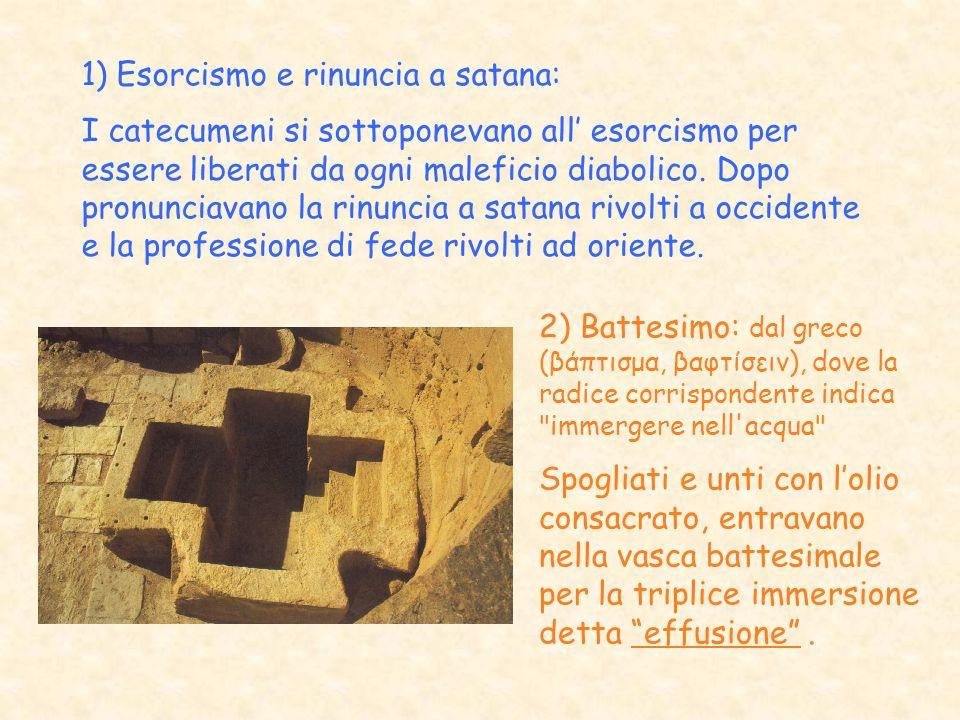 1) Esorcismo e rinuncia a satana: