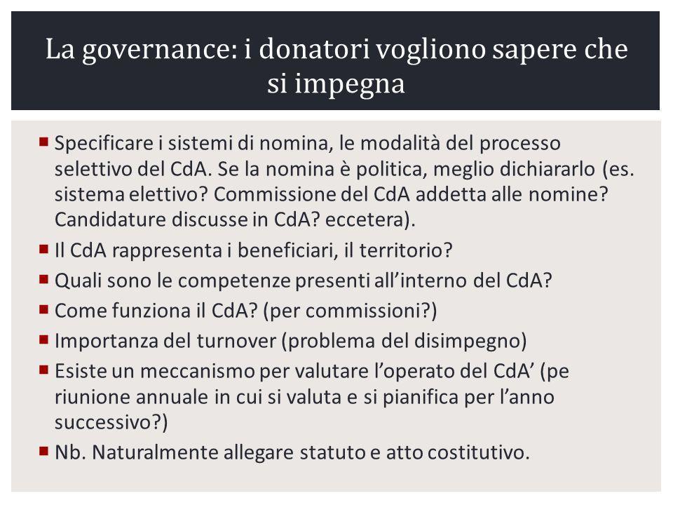 La governance: i donatori vogliono sapere che si impegna