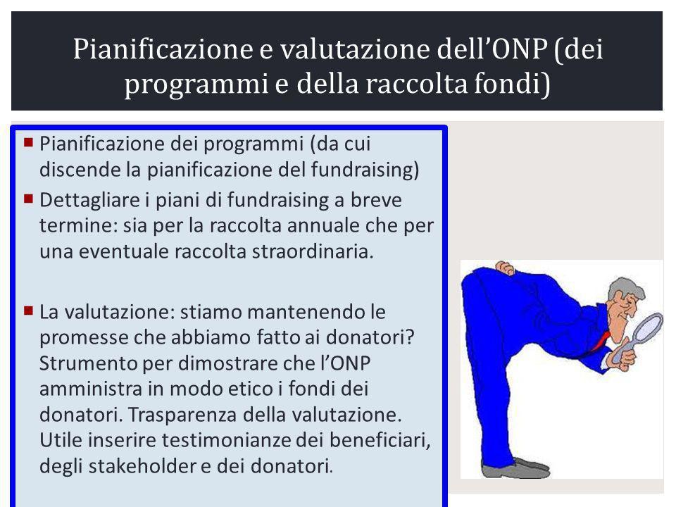Pianificazione e valutazione dell'ONP (dei programmi e della raccolta fondi)