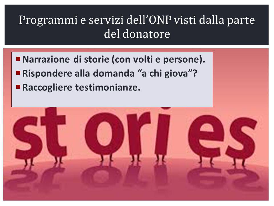 Programmi e servizi dell'ONP visti dalla parte del donatore