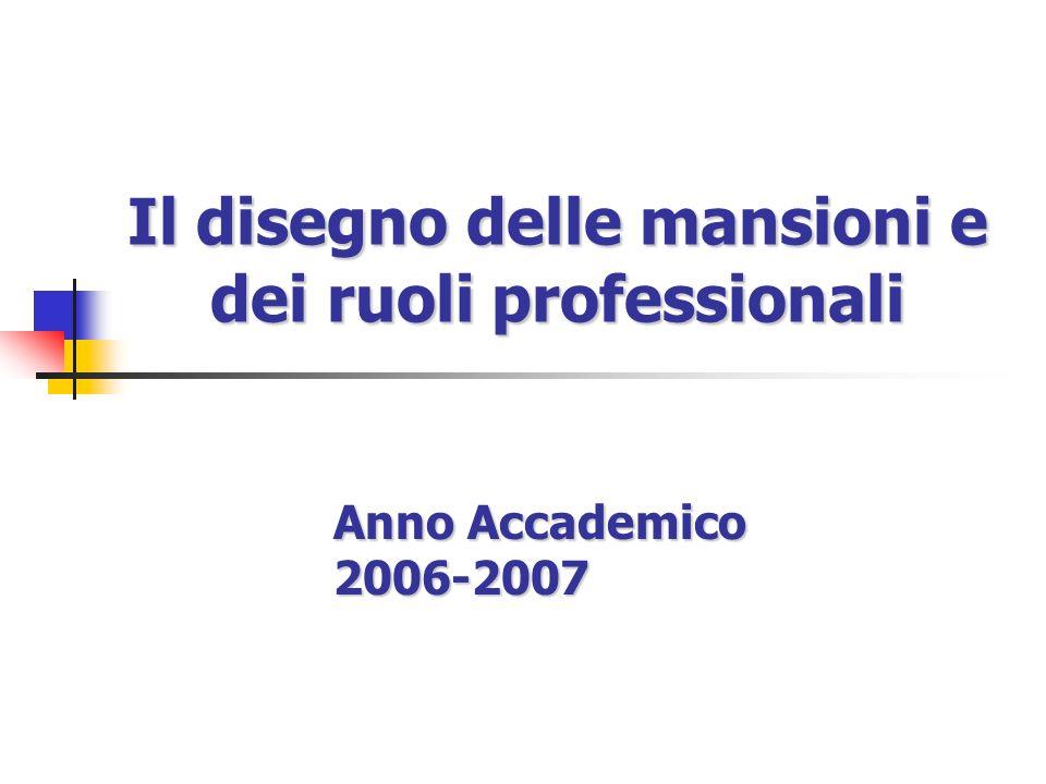 Il disegno delle mansioni e dei ruoli professionali