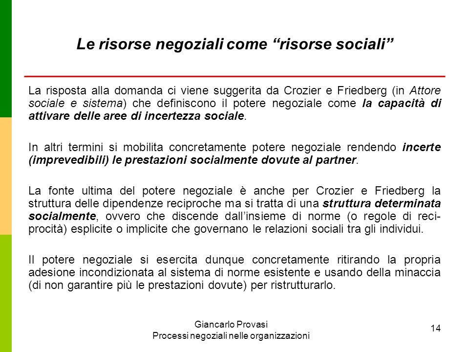 Le risorse negoziali come risorse sociali