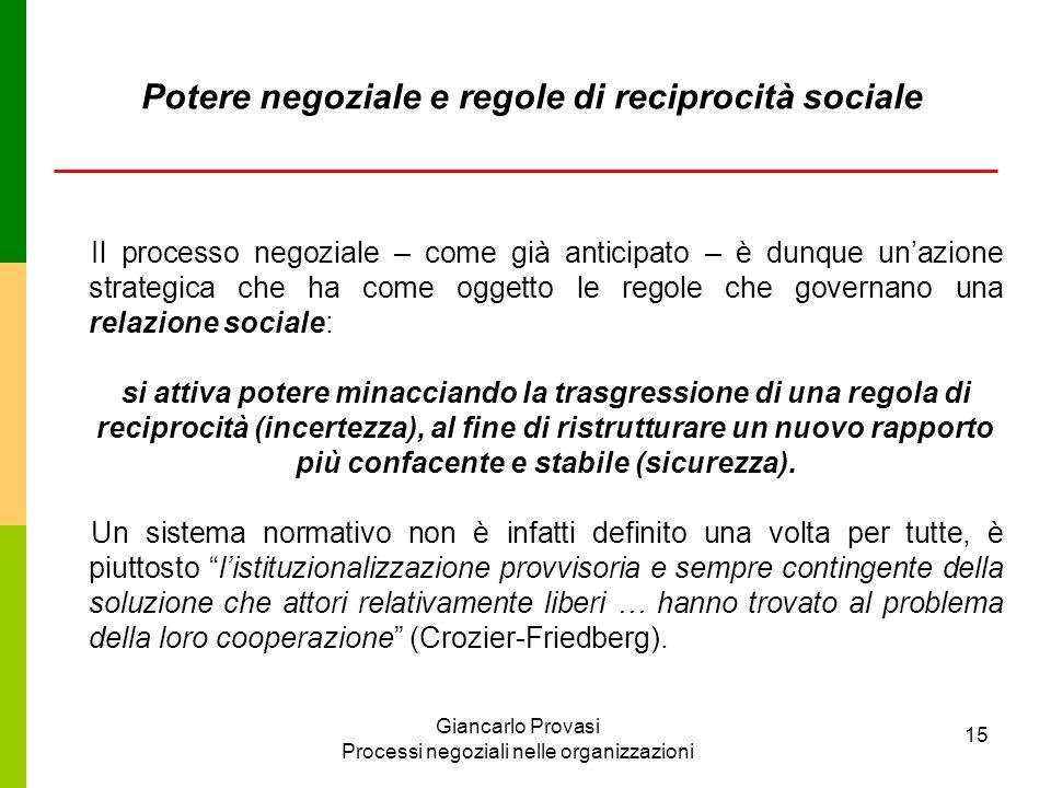 Potere negoziale e regole di reciprocità sociale
