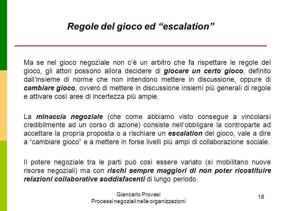 Regole del gioco ed escalation