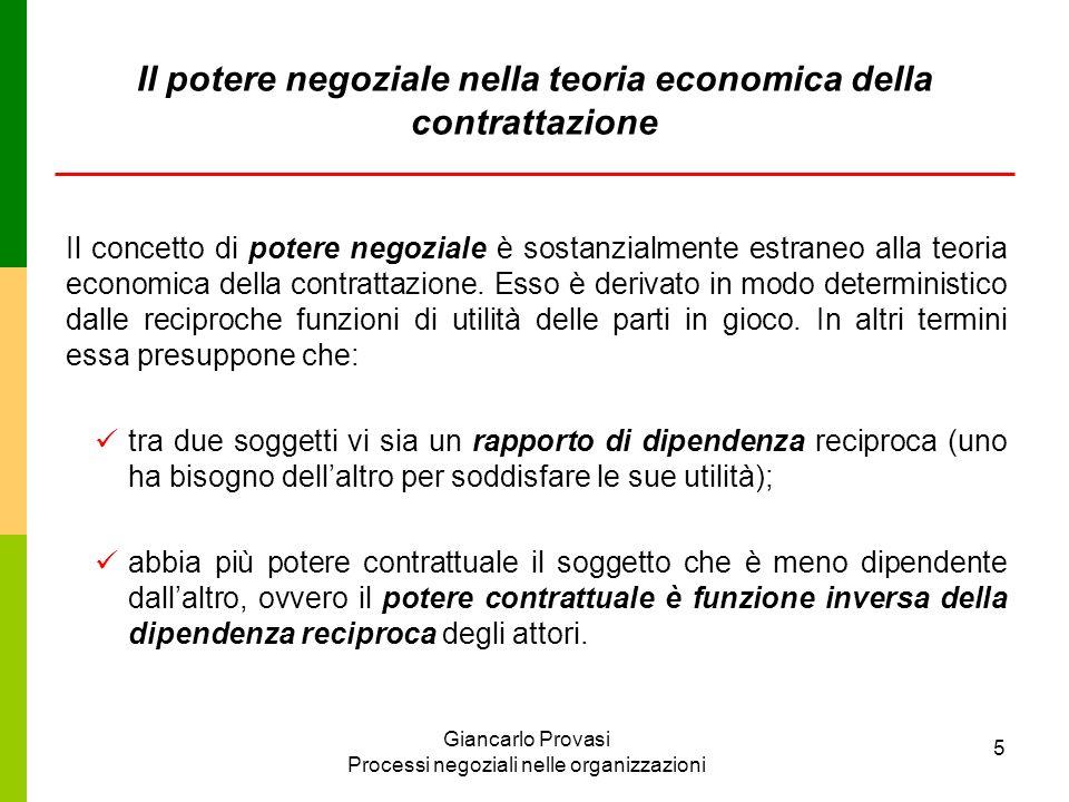 Il potere negoziale nella teoria economica della contrattazione