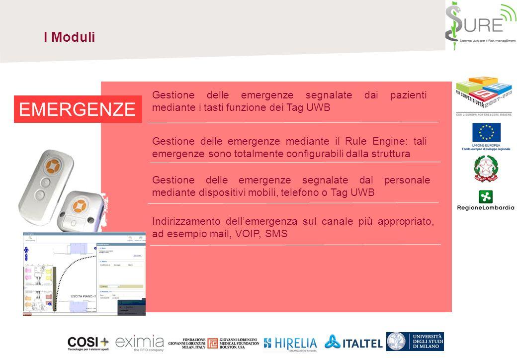 I Moduli Gestione delle emergenze segnalate dai pazienti mediante i tasti funzione dei Tag UWB. EMERGENZE.
