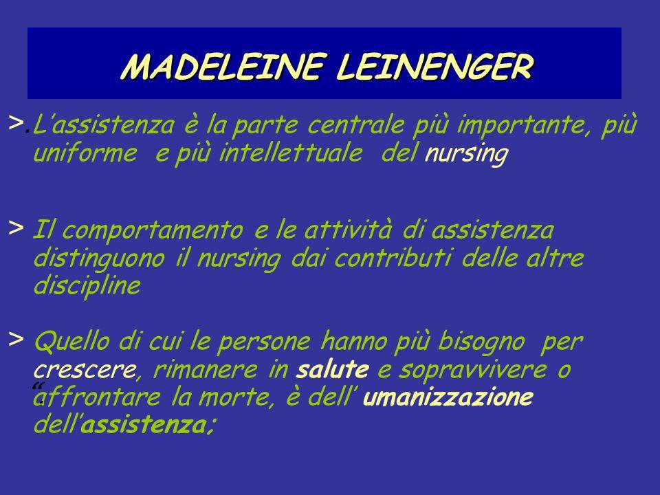 MADELEINE LEINENGER >.L'assistenza è la parte centrale più importante, più uniforme e più intellettuale del nursing.