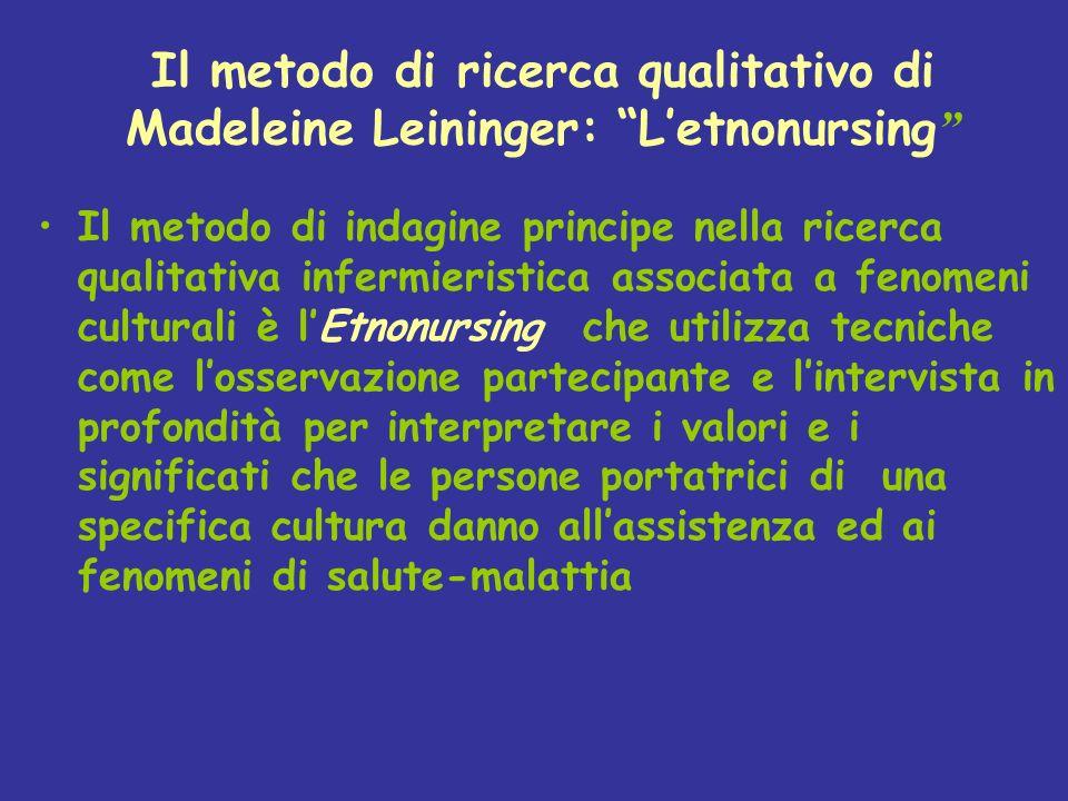 Il metodo di ricerca qualitativo di Madeleine Leininger: L'etnonursing