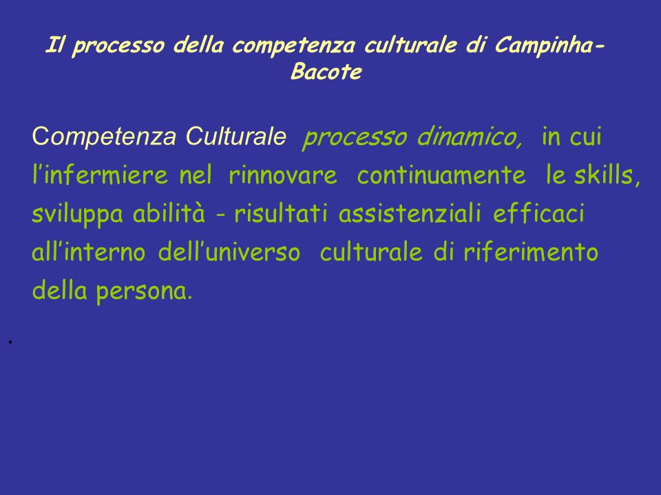 Il processo della competenza culturale di Campinha-Bacote