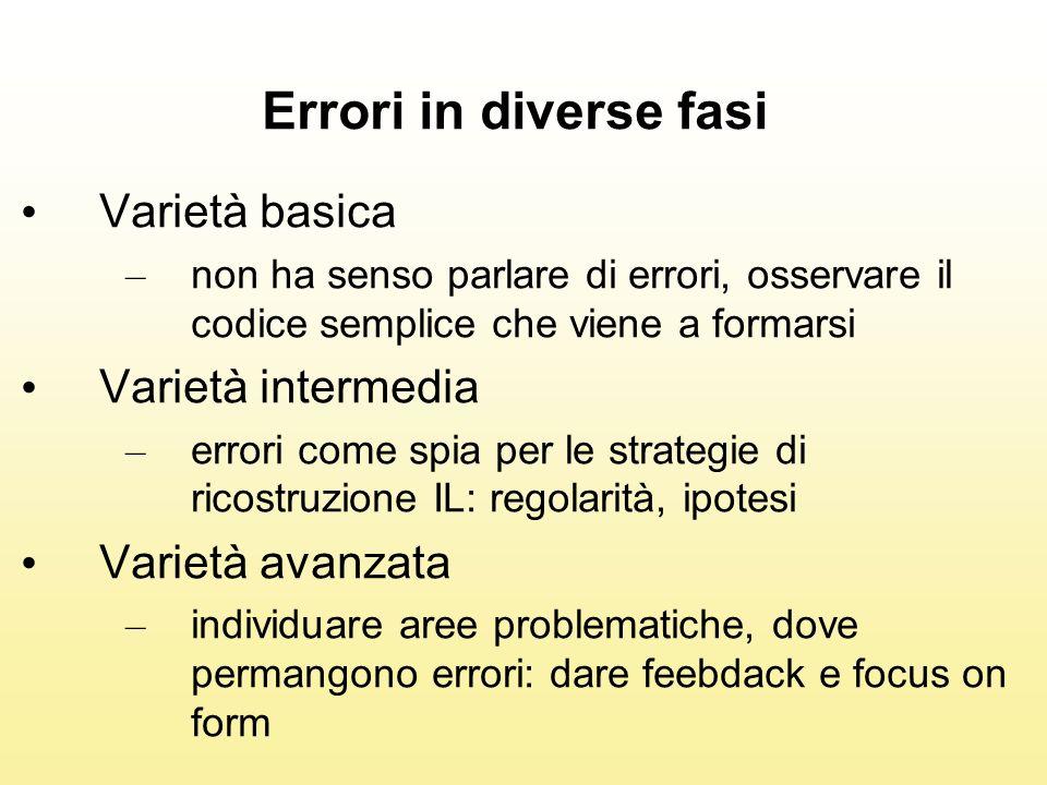 Errori in diverse fasi Varietà basica Varietà intermedia