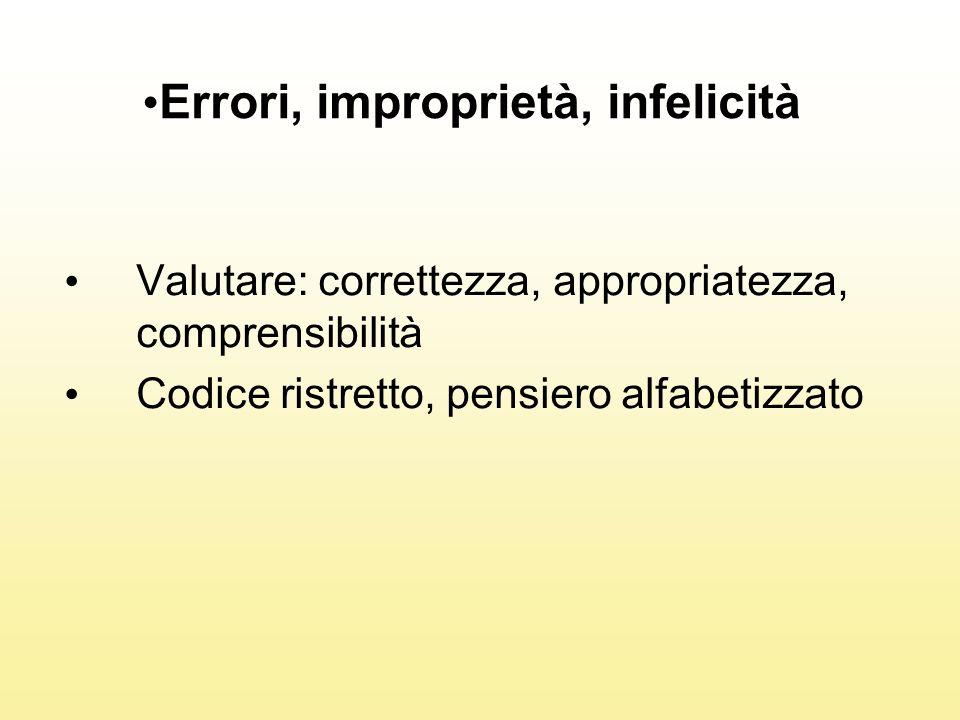 Errori, improprietà, infelicità