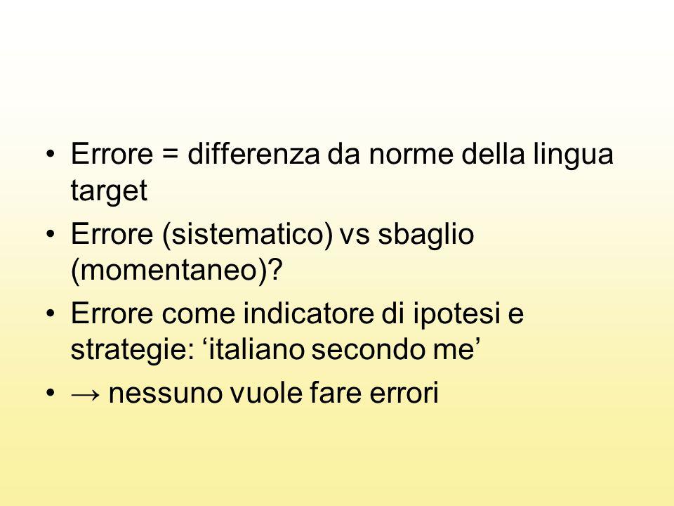 Errore = differenza da norme della lingua target