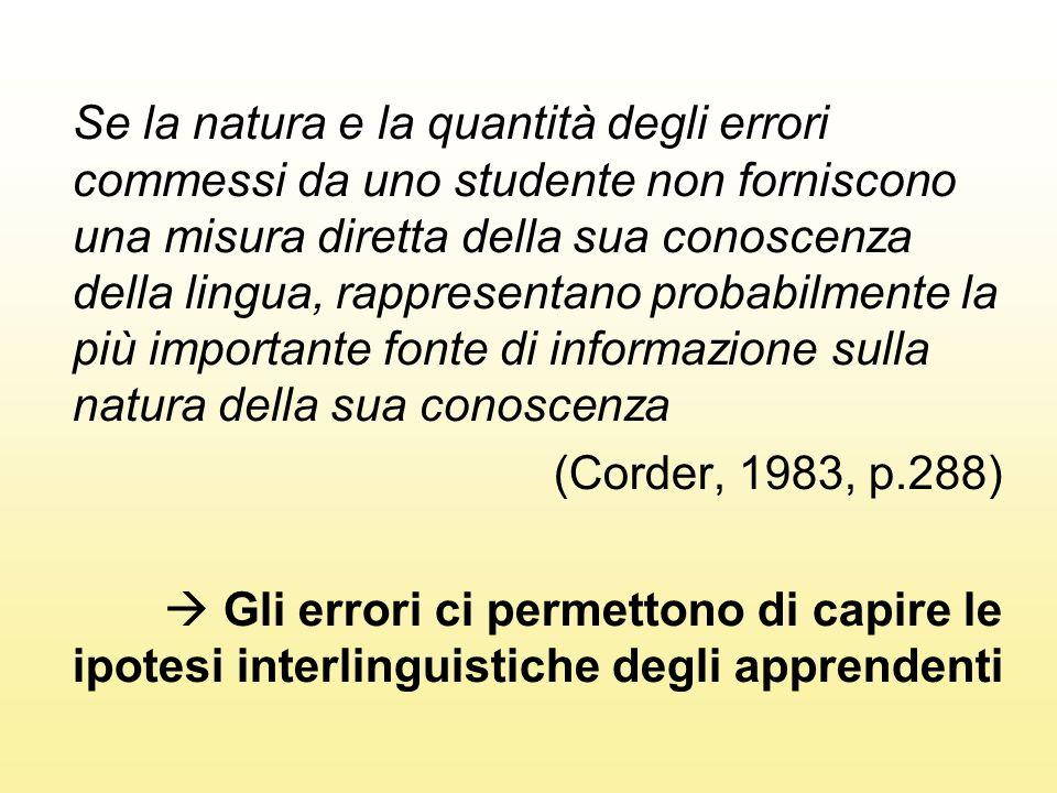 Se la natura e la quantità degli errori commessi da uno studente non forniscono una misura diretta della sua conoscenza della lingua, rappresentano probabilmente la più importante fonte di informazione sulla natura della sua conoscenza