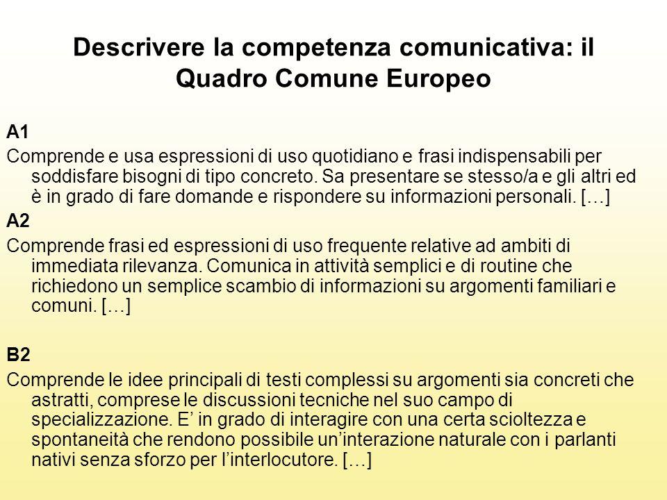 Descrivere la competenza comunicativa: il Quadro Comune Europeo