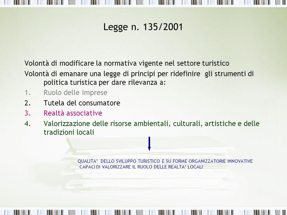 Legge n. 135/2001 Volontà di modificare la normativa vigente nel settore turistico.
