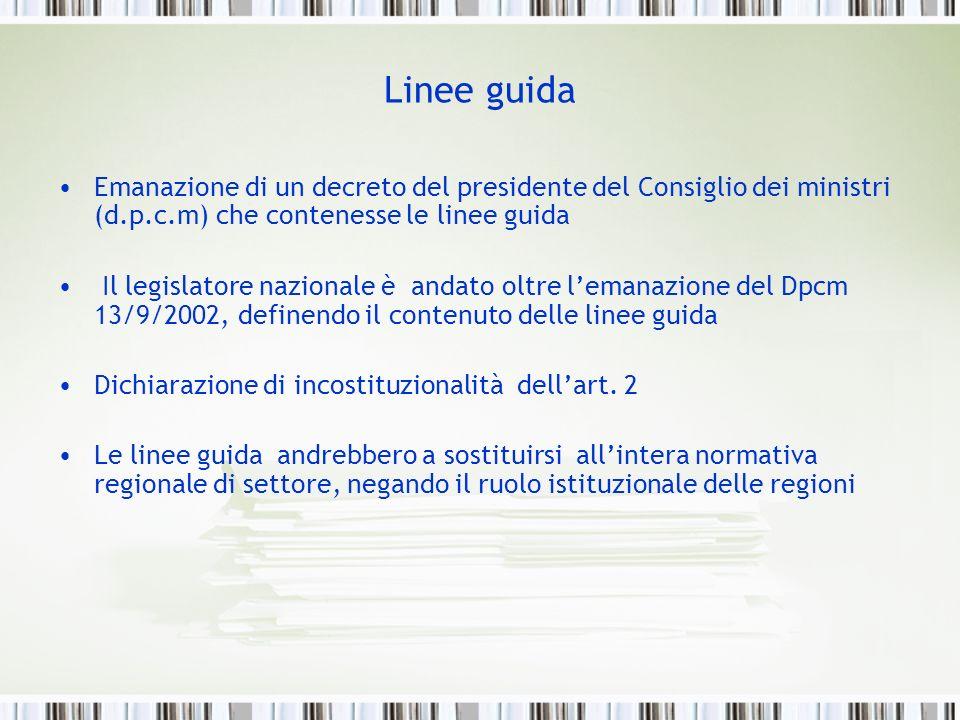 Linee guidaEmanazione di un decreto del presidente del Consiglio dei ministri (d.p.c.m) che contenesse le linee guida.