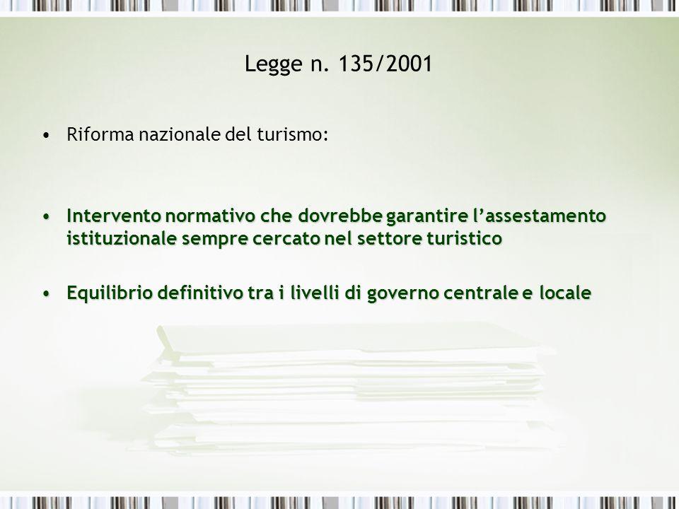 Legge n. 135/2001 Riforma nazionale del turismo: