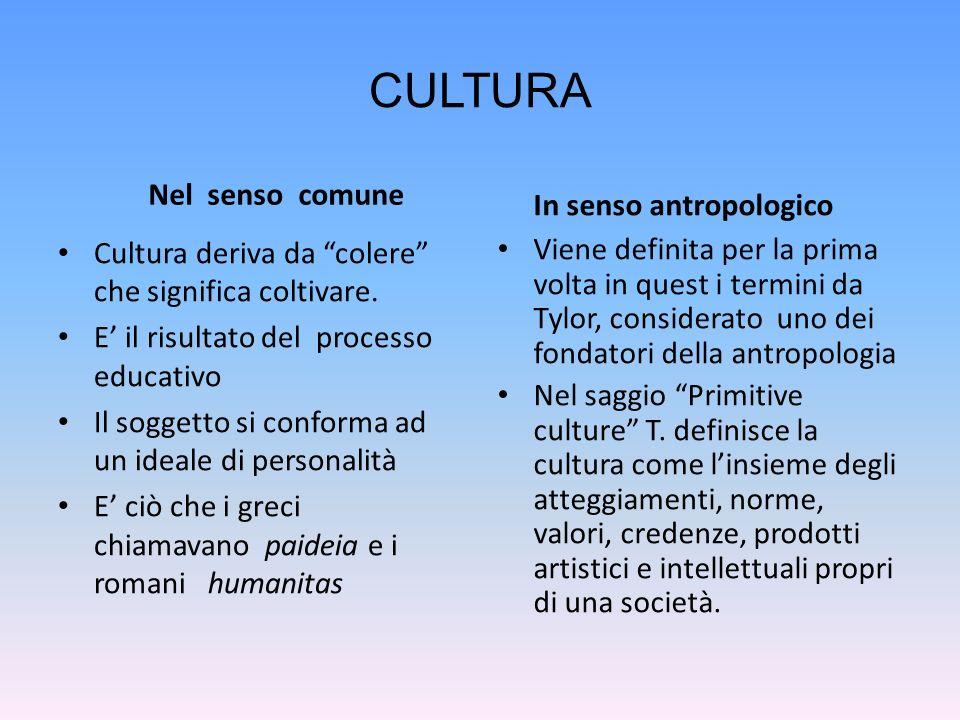 CULTURA Nel senso comune In senso antropologico