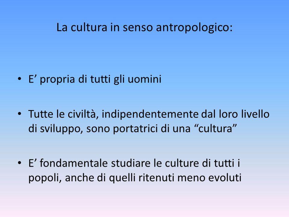 La cultura in senso antropologico: