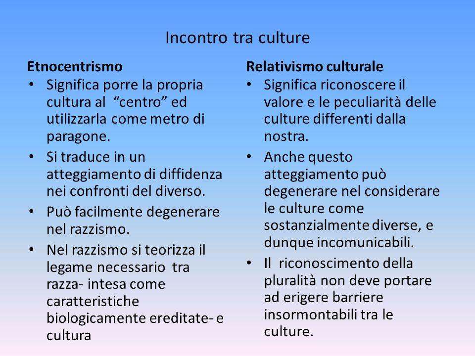 Incontro tra culture Etnocentrismo Relativismo culturale