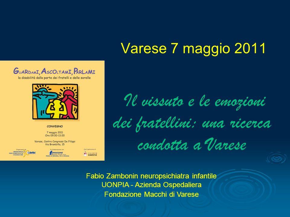 Varese 7 maggio 2011 Il vissuto e le emozioni dei fratellini: una ricerca condotta a Varese
