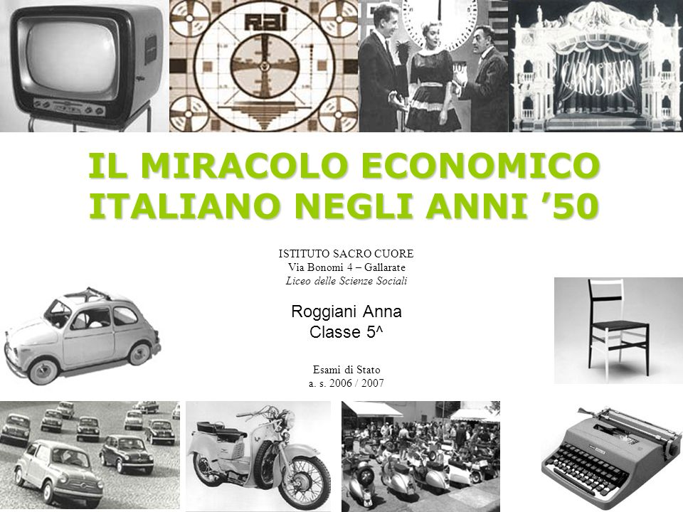 IL MIRACOLO ECONOMICO ITALIANO NEGLI ANNI '50
