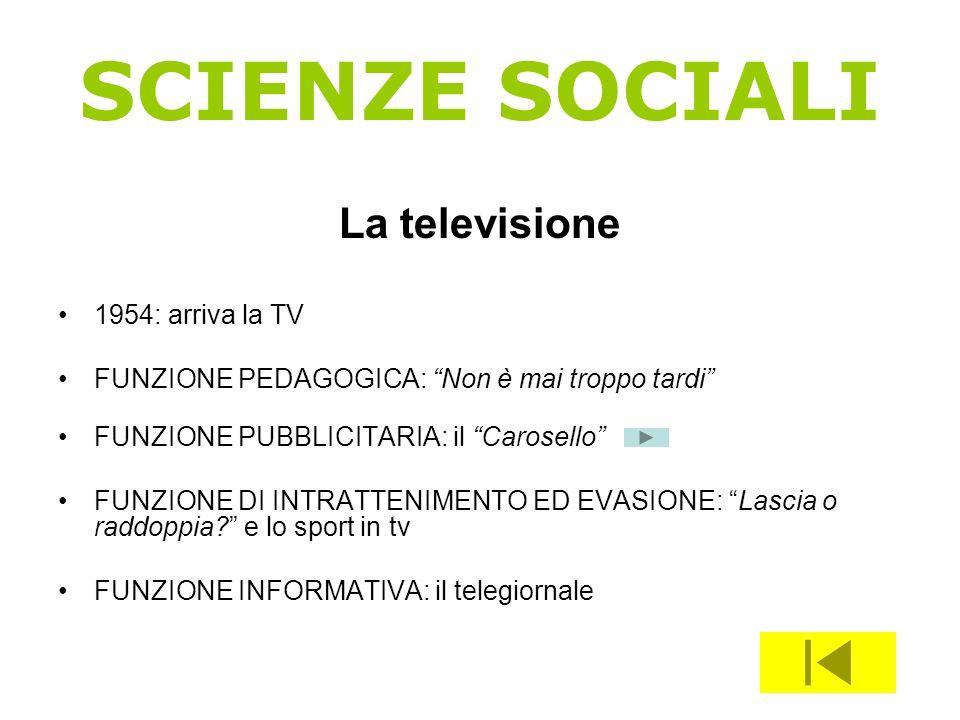 SCIENZE SOCIALI La televisione 1954: arriva la TV