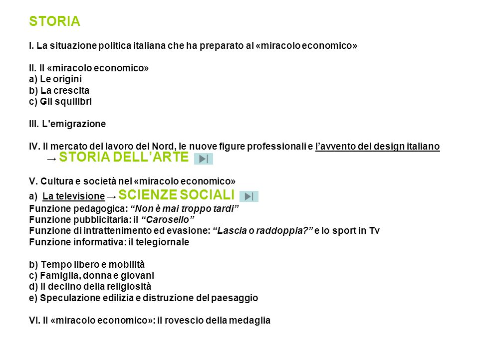 STORIA I. La situazione politica italiana che ha preparato al «miracolo economico» II. Il «miracolo economico»