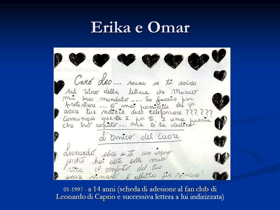 Erika e Omar 01-1997 - a 14 anni (scheda di adesione al fan club di Leonardo di Caprio e successiva lettera a lui indirizzata)