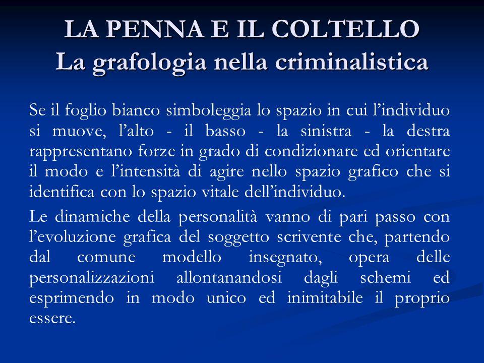 LA PENNA E IL COLTELLO La grafologia nella criminalistica