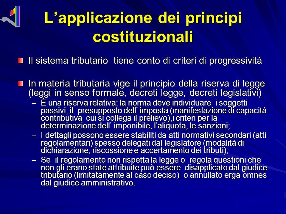 L'applicazione dei principi costituzionali