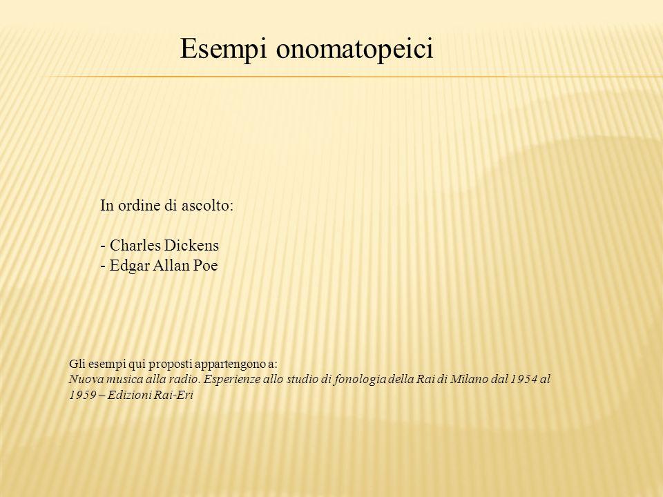 Esempi onomatopeici In ordine di ascolto: Charles Dickens