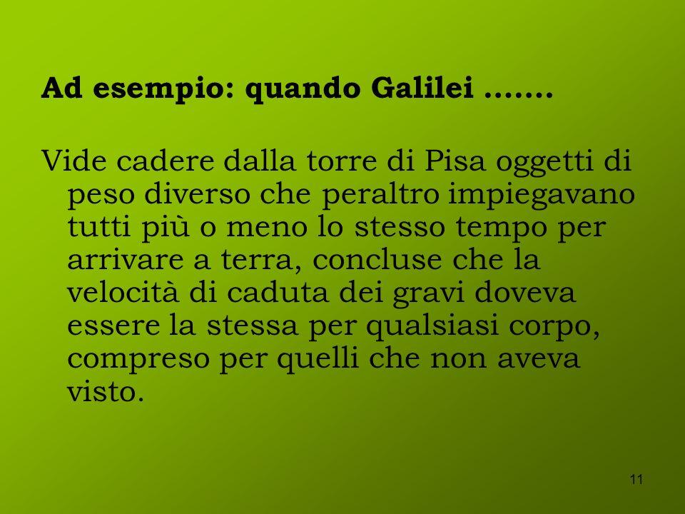 Ad esempio: quando Galilei …….