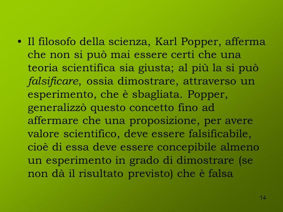 Il filosofo della scienza, Karl Popper, afferma che non si può mai essere certi che una teoria scientifica sia giusta; al più la si può falsificare, ossia dimostrare, attraverso un esperimento, che è sbagliata.