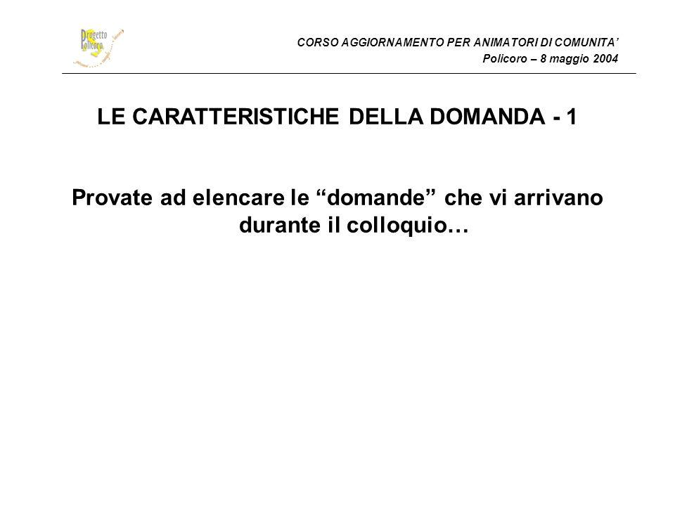 LE CARATTERISTICHE DELLA DOMANDA - 1