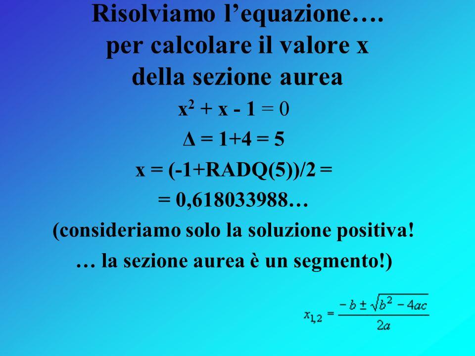 Risolviamo l'equazione…. per calcolare il valore x della sezione aurea