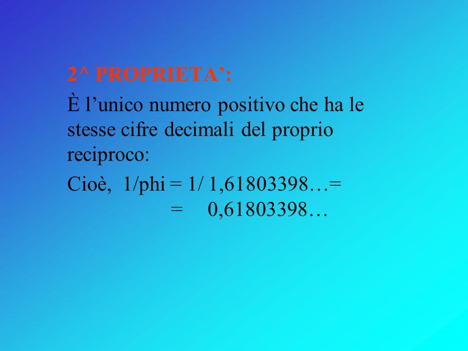 2^ PROPRIETA':È l'unico numero positivo che ha le stesse cifre decimali del proprio reciproco: Cioè, 1/phi = 1/ 1,61803398…= = 0,61803398…