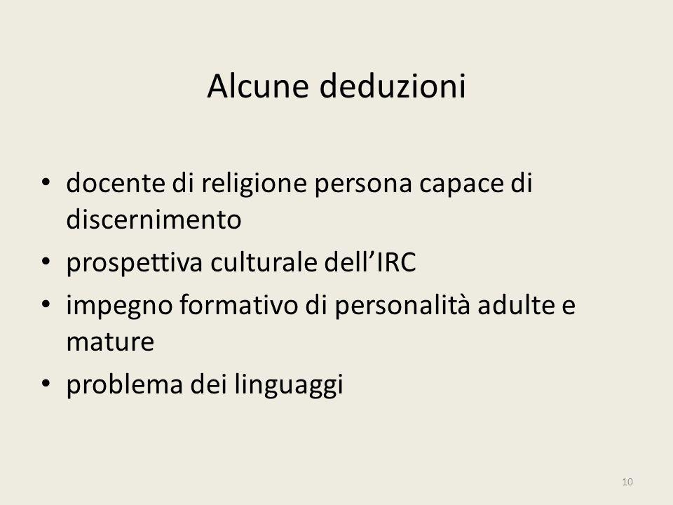 Alcune deduzioni docente di religione persona capace di discernimento