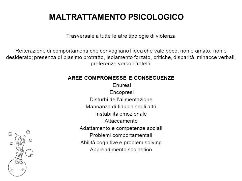MALTRATTAMENTO PSICOLOGICO AREE COMPROMESSE E CONSEGUENZE