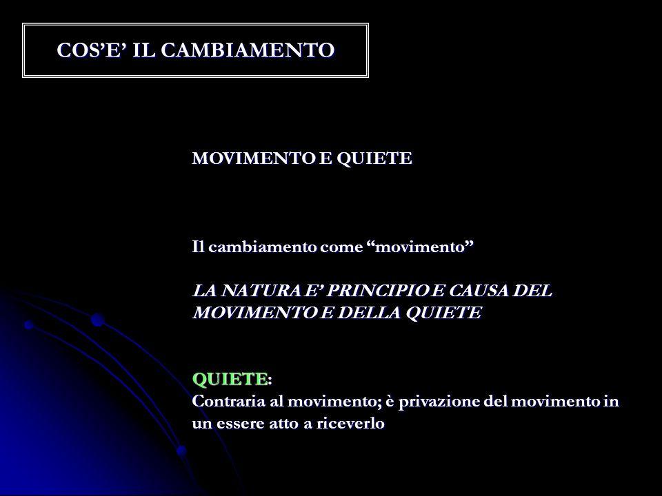 COS'E' IL CAMBIAMENTO MOVIMENTO E QUIETE