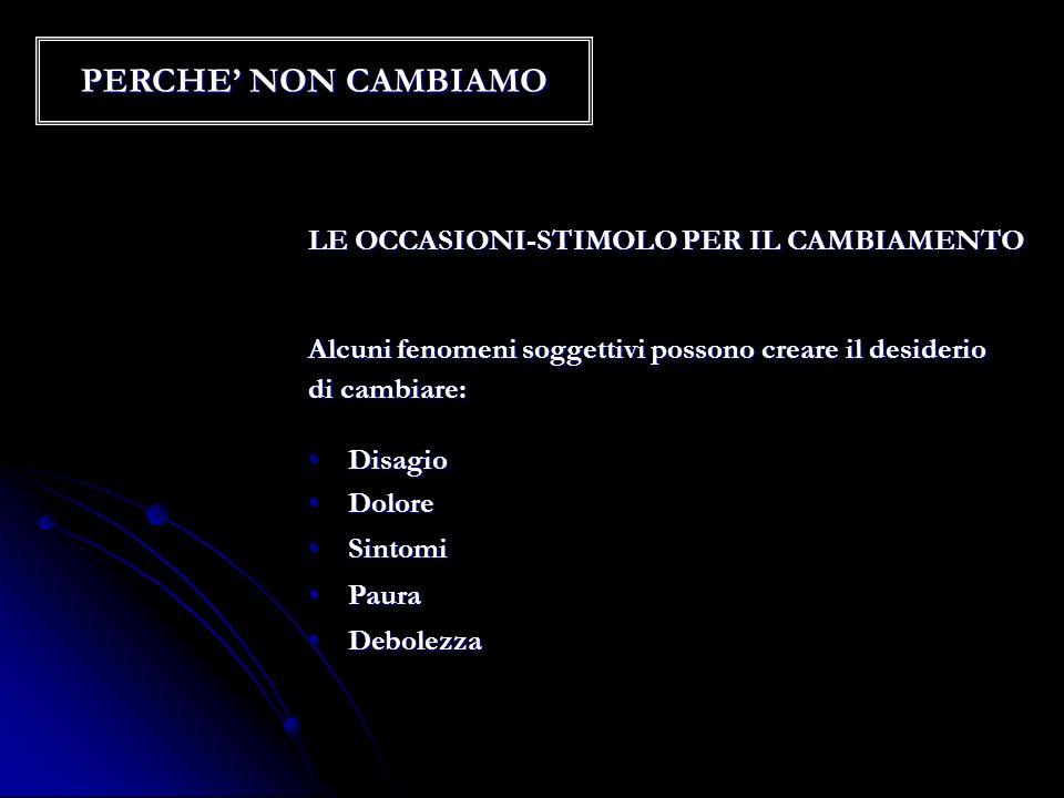 PERCHE' NON CAMBIAMO LE OCCASIONI-STIMOLO PER IL CAMBIAMENTO